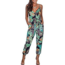 Walant Mode Femmes Combinaison Dos Nu sans Manches Col V Imprimé Floral Camisole Barboteuse Jumpsuit D'été Chic Élégant Slim Pantalon Loose Casual, Bleu Marine 3, L