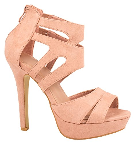 Kayla Damen Pumps | Moderne Cut Out Stilettos | Wildlederoptik High Heels | chunkyrayan LL85-Pink-35 Pink Stiletto High Heel