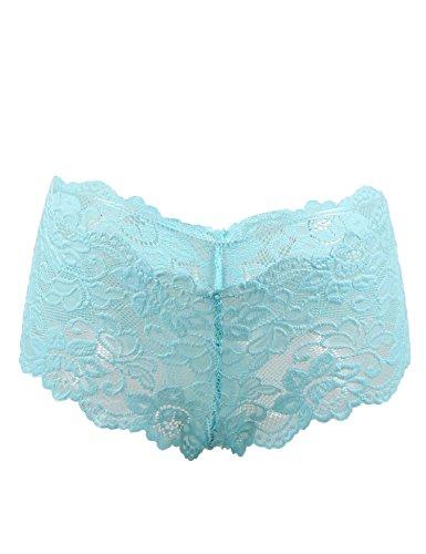 ohyeahlady Damen Übergröße Floralen Spitze Unterwäsche Unterhosen Transparente Panties Hipsters- Gr. 6X-Large=EUR 50-52, Blau (Hipster-höschen Pack)