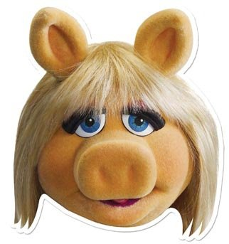 Star Cutouts Bedruckte Gesichtsmaske von Miss Piggy (Miss Piggy Kostüm Für Erwachsene)