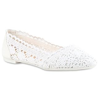 Bequeme Damen Flats Klassische Ballerinas Spitze Ballerina Slipper Spitze-Häkeloptik Schuhe 116423 Weiss 40 Flandell