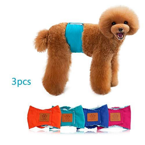 3er Set Hundewindel Windel für Rüden männlichen Hunde Rüdenwindel Inkontinenzwindel Hundeschutzhose Stecker Bauchband Gurte für Hunde Wiederverwendbar Waschbar (S, Blaugrün)