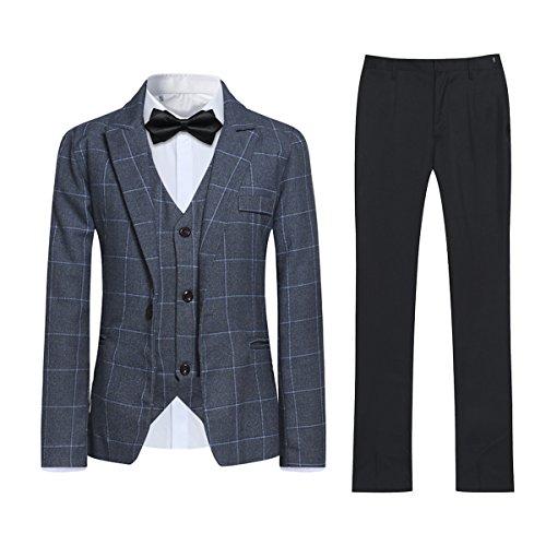 Anzug Jungen Smoking 3 Teilig Slim Fit Business Hochzeit Plaid Flacher Kragen Einreiher 1 Knopf und Westen mit 3 Knopf Grau 4-5 years