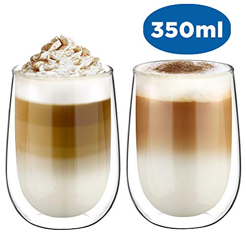 e Latte Macchiato Glaser Set Thermoglas Kaffeeglas Trinkgläser 2-teiliges 350ml (Volle Kapazität) ()