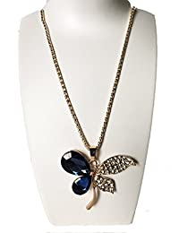 Evince MODE Stylish Blue Butterfly Pendant CrystalLong Chain Necklace For Women & Girls.