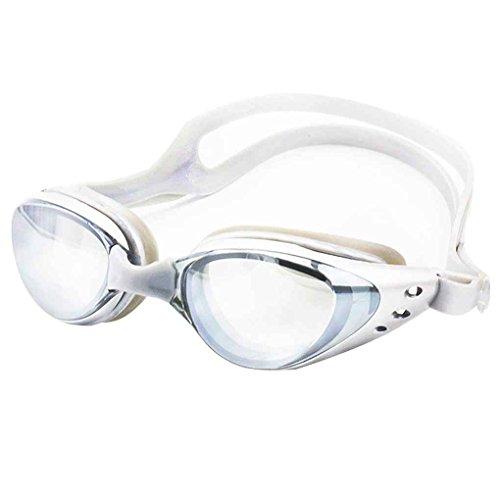 Masterein Outdoor-Männer Frauen-Schwimmen-Gläser Anti-Fog UV-Schutz Schwimmbrille Unisex Strandwasserdicht Objektiv-Schutzbrillen Silber-