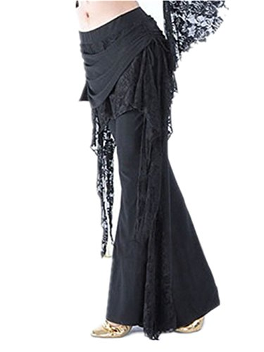 Damens Lace Bauchtanz Kostüm Hose Culottes Elastisch Hose Seite Schlitz Tanzen