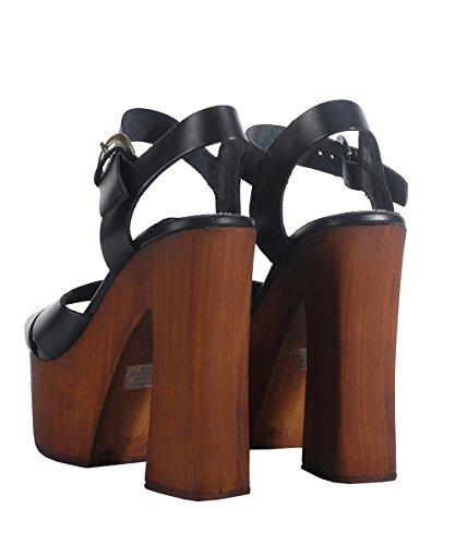 Windsor Smith Jagga Black Sandal-Sandales Noires avec Calage Noir
