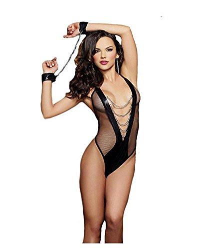 FUNKY LOVER Frau Sexy Dessous Unterwäsche Nachtschlaf Körperform Kleid Body Halsband Puppe Overall Nachthemd , M (Illusion-mieder-kleid)