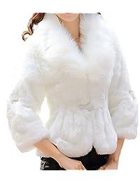 Helan Mujeres Faux Rex Abrigo con cuello de piel de zorro de imitacion de piel de conejo