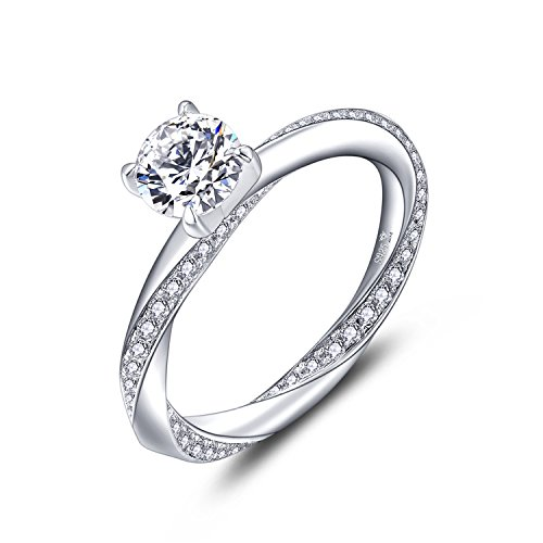 YL Engagement Ring, 925 Sterling Silver 6 mm Cubic Zirconia Wedding Ring for Women Bride