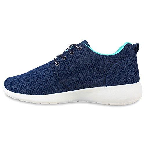 Damen Laufschuhe | Modische Sportchuhe| Sneaker Profilsohle |Glitzer Pailletten Sneakers | Runners Snake Blumen Dark Blue