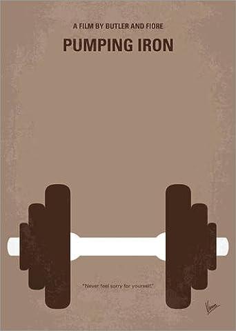 Leinwandbild 70 x 100 cm: No707 My Pumping Iron minimal movie poster von chungkong - fertiges Wandbild, Bild auf Keilrahmen, Fertigbild auf echter Leinwand, Leinwanddruck