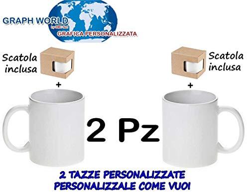 Graph World 2 Tazze Personalizzate con Foto - Immagine - Frase-Logo O Disegno Tazza
