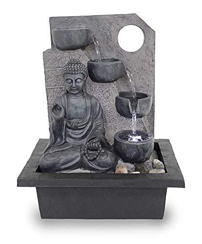 Kiom Tischbrunnen Zimmerbrunnen FoBuddha Ancient Black sehr groß mit 38,5 cm LED 10871