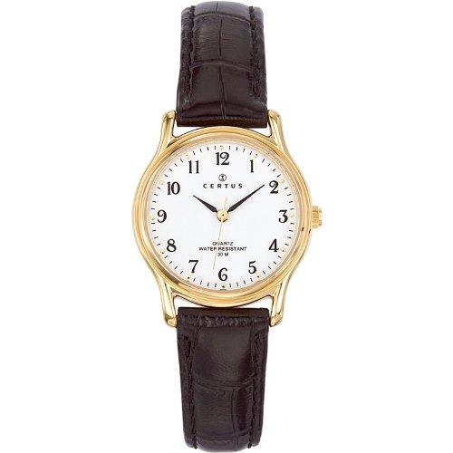 Certus  0 - Reloj de cuarzo para mujer, con correa de cuero, color negro
