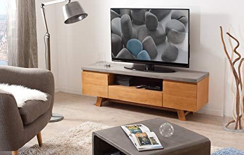 Macabane Meuble TV, Chene Clair/Beton, 150 x 45 x 51 cm