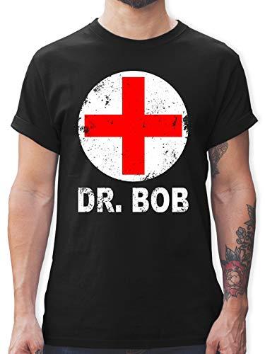 Kostüm Schwarzen Bob - Karneval & Fasching - Dr. Bob Kostüm Kreuz - 3XL - Schwarz - L190 - Herren T-Shirt und Männer Tshirt