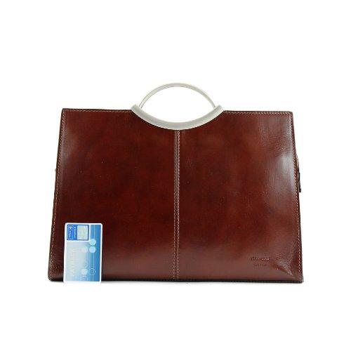 Handtasche Business modamoda Ledertasche de ital Elegant Damentasche Tragetasche Braun X03 235 qwqt6SR