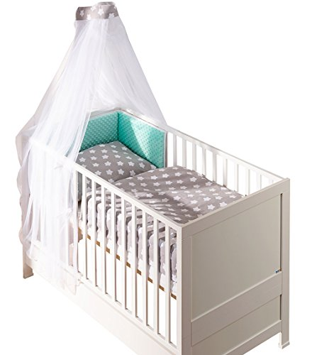 Belivin - Belivin® Baby & Juniorbett Milano inkl. Bettwäsche komplett Set - 140x70cm, 10 weiße Sternchen