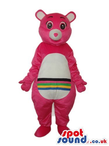 pink-care-bear-cartoon-spotsound-us-mascot-costume-with-a-rainbow-on-its-belly