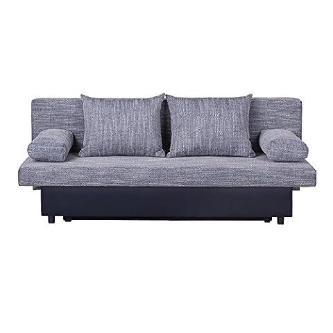 Schlafsofa Schlafcouch Sofa ZOE 2-Sitzer, in grau mit Bettkasten und