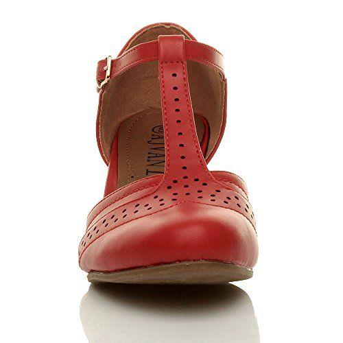 Donna tacco medio t-barra ritagliare francesine décolleté scarpette taglia Rosso opaco