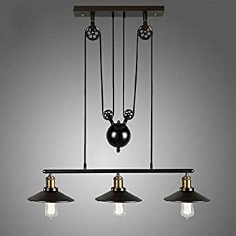 homestia lustre industriel 3 lampes avec poulie en fer effet r tro noir luminaires. Black Bedroom Furniture Sets. Home Design Ideas