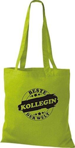 ShirtInStyle Stoffbeutel Baumwolltasche Beste KOLLEGIN der Welt limegreen
