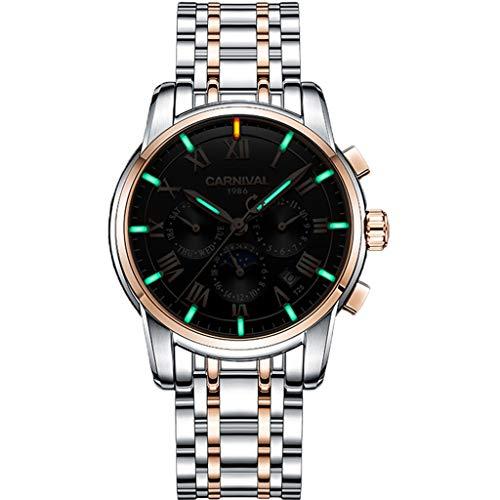 CREATIVE New Vollautomatisches mechanisches Uhrwerk, leuchtender wasserdichter Quarz-Multifunktionshohlstahlgürtel Flut-Uhr der Männer Sports (Color : A) -