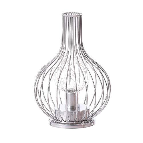Lámpara de mesa vintage de metal, luz blanca cálida, iluminación a ...