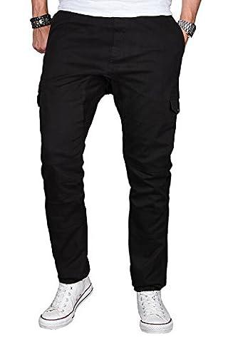 A. Salvarini Herren Stretch Cargohose Cargo Jogg Jeans Hose mit Elasthananteil Jogging Sweathose Slim AS031 [AS031 - Schwarz - W36