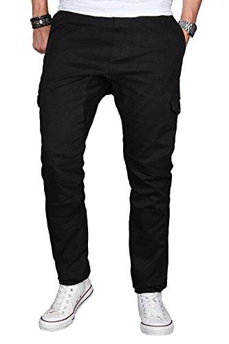 A. Salvarini Herren Stretch Cargohose Cargo Jogg Jeans Hose mit Elasthananteil Jogging Sweathose Slim AS031 [AS031 - Schwarz - W31 L34]