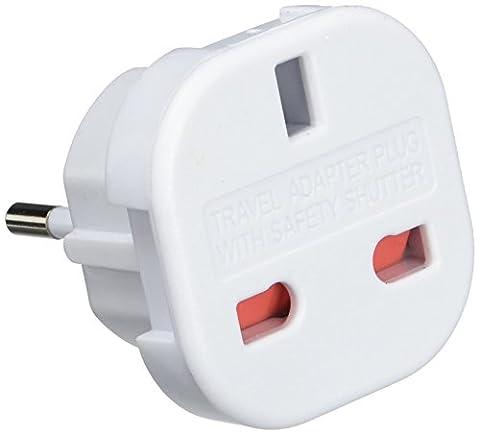 Kit UK 3-Pin to Euro 2-Pin Mains Adapter / Travel Plug - White