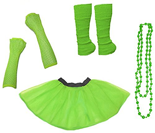 Ladies Neon UV Tutu Set Skirt Gloves Leg Warmers Beads 80s Costume Size 34-50 (EUR 34-42(UK 6-14), Neongrün)