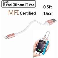 LP 15cm Kurz Lightning Kabel (Apple MFi zertifiziert) Daten Sync und Ladung Ladekabel für iPhone iPad iPod iOS High Lebensdauer Verstärkt Schnelles Laden Handy Akku Datenkabel - Rose
