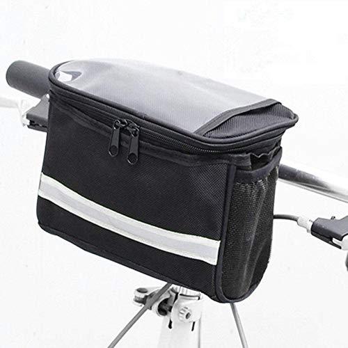 Große Lenkertasche für Fahrräder, Aufbewahrungstasche für die Fahrradtasche mit Netztasche, kalte und warme Isolierung, reflektierender Gurt, berührbare transparente Handytasche