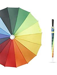 Paraguas creativo estuche impermeable mango recto barra recta golf 16 hueso mango largo