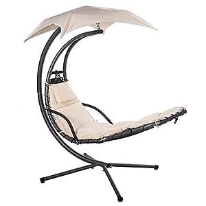 ventanara chaise longue basculante suspendue avec un parasol et coussin rembourr beige amazon. Black Bedroom Furniture Sets. Home Design Ideas