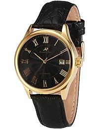 KS KS242 - Reloj para hombres, correa de cuero color negro