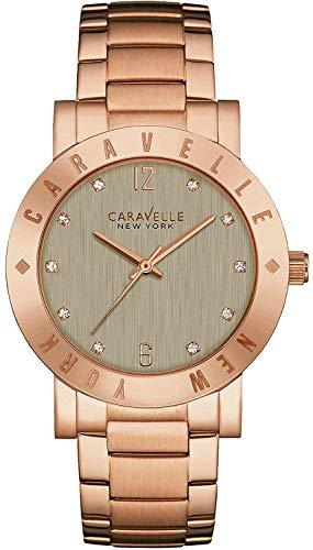 Ladies Caravelle New York Rose Gold Plated Crystal Set Bracelet Watch 44L203