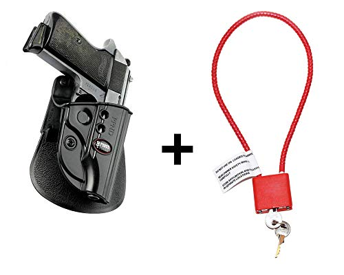 Walther PPK Holster & Cable Gun Lock, Fobus Tactical Retention Paddle Holster for Walther PPK / PPKS (old versions) (Airsoft Shotgun-holster)
