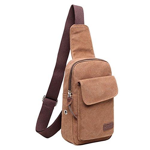 TININNA Uomo Vintage Multifunzione Sport Crossbody Bag in tela Borsa a tracolla Messenger Bag Borsa Borsetta a Spalla per Viaggio/Sport/Bicicletta/Trekking(Khaki) Caffè