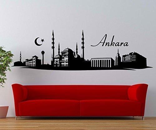 Ankara Türkei (Wandtattoo Ankara Skyline Türkei Moschee Wand Aufkleber Wohnzimmer Stadt 1M703, Farbe:Silbergrau glanz;Skyline Länge:180cm)