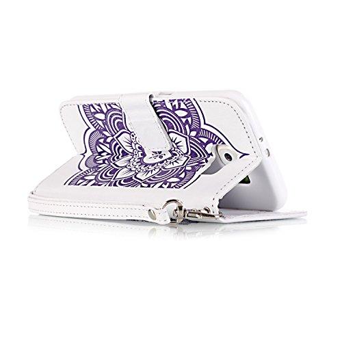 Might twowaycase Vent Bell Process Painted Étui Boîte de classement Protection en cuir PU Case Cover avec compartiment cartes mémoire Slots & Cash Portefeuille Étui Housse folio cas de Shell Plaques d white and purple