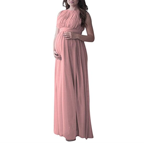 Kleider für Schwangere, FEITONG Damen Umstandskleid Chiffon Kleid Jerseykleid Schwangerschafts Kleid Tank Kleid Prinzessin Kleid Ärmellose Rundhals Kleid Fotografie Kleidung Maxikleid (S, Rosa) Neckholder-umstandskleid