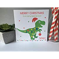 Personalised Christmas Card Dinosaur Boys Girls Grandson Son Nephew Niece Granddaughter Daughter