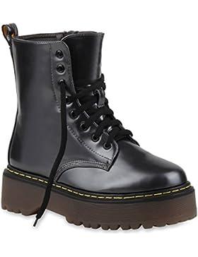 Damen Stiefeletten | Stiefel Worker Boots | Lack Schuhe Profilsohle | Flandell®