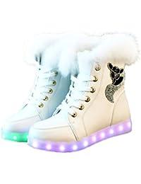 O&N LED Schuh Bunte Schneeschuhe schneestiefel USB Aufladen 7 Farbe Leuchtend Stiefel High-Top Freizeit Winter Schuhe für Unisex-Erwachsene Damen Mädchen