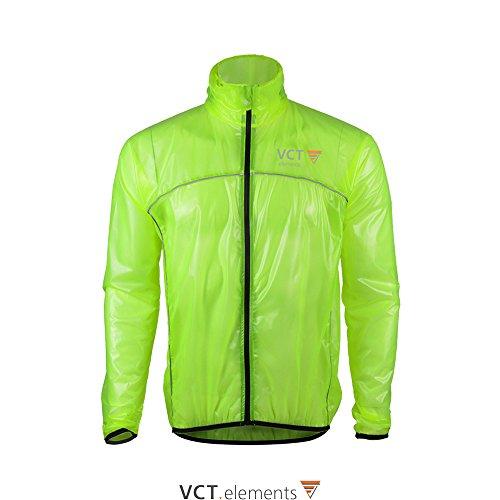 VCT Rain Protector Herren Radsport Regenjacke winddicht und wasserdicht mit Reflektor Streifen (Neon-Grün, L)